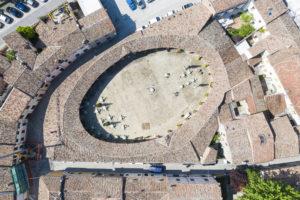 Piazza nuova Bagnacavallo dall'alto