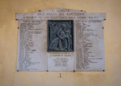 La memoria nel paesaggio, Lapide, Memoria, Sant'Agata sul Santerno, Torre orologio, Lapide caduti seconda guerra mondiale